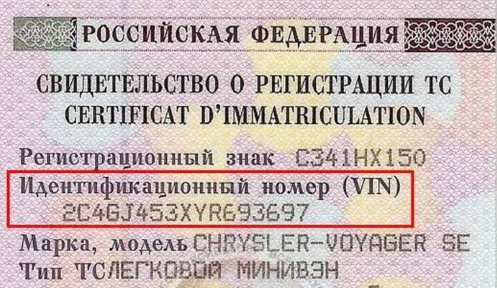 VIN - идентификационный номер транспортного средства